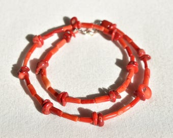 Patterned Genuine Coral Necklace / Natural Red Coral Necklace / Minimalist Tube Beaded Necklace / Coral Nugget Necklace / Gift for Her