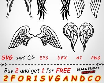 SALE!  Angels wings clipart set - Wings  SVG file -  instant download - Heaven Files for Cricut and Silhouette - svg, eps, dxf, png - SAC131