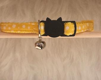 "Yellow Cat Collar- ""Goldenrod City""- Breakaway Cat Collar / Kitten Collar"