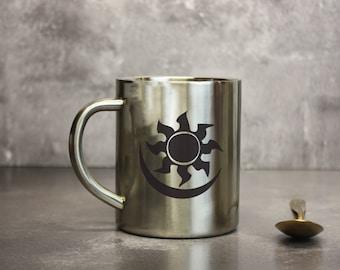 Magic the Gathering Mana Mugs Set of 5 - Five Mana Symbols Metal Mug Set - MTG Unofficial Merchandise - Stainless Steel Mugs MTG