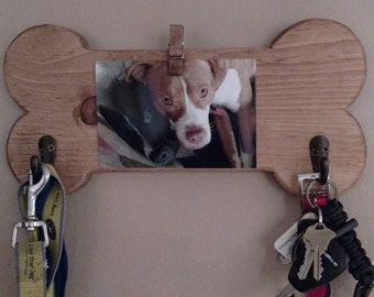 FREE SHIPPING Dog Bone Leash Holder with picture hanger, Key organizer, Entryway hook
