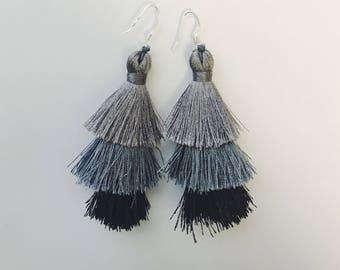 Black/Gray Tassel Earrings