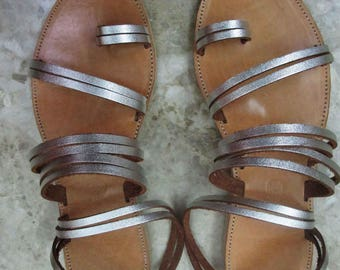 Sandals Women's,Women's Sandals, Handmade Leather Sandals,Strappy 0,5 cm of  Sandals,Toe Ring Sandals,Ladies Sandals,Silver Sandals, DIANA