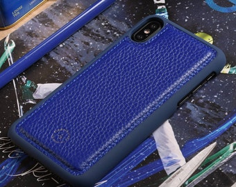 Apple iPhone X / iPhone 10 Genuine Leather Back Cover in Blue Pebble Grain Genuine Leather
