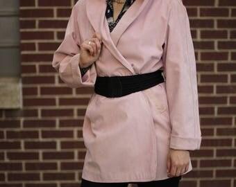 Vintage Pink Sueded Coat | Open Front Coat | Suede-Like Coat | M | L | XL