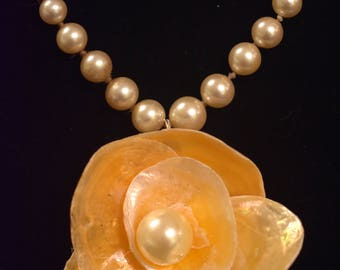 Pearls and a Flower made from Jingle Shells Necklace Pania , Ocean, Mermaid, jewelry