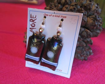 Blue Metallic, bronze and white glass earrings