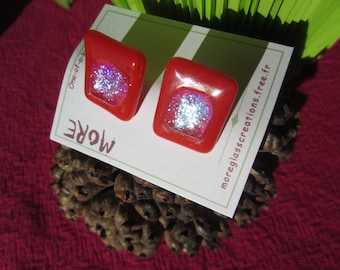 Clip earrings vermilion red glass with silver inclusion