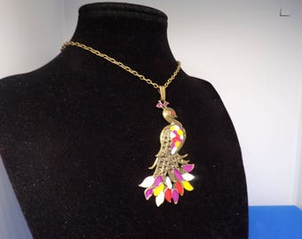 Bronze necklace with enameled Peacock pendant