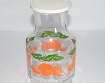 ANCHOR HOCKING, Juice Carafe, Glass Pitcher, Orange Juice Pitcher, with white Lid, Vintage, Great Condition, Mid-Century, Leaves, Oranges