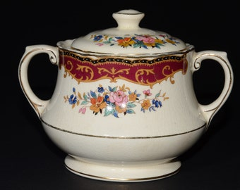 Antique, UNICORN, Thomas Hughes & Son LTD, Staffordshire, Bone China, Lidded, Sugar pot, Vintage, burgundy, pink roses, flowers