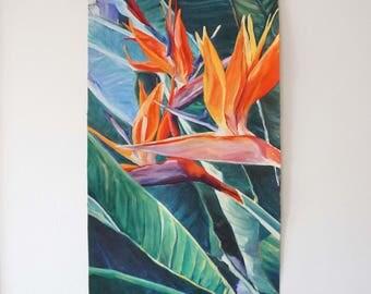 Original Oil painting Strelizia Reginae Plants Print Tropical flowers Leaves