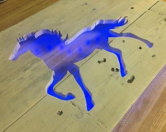 Horse Cutout Wall Art - Repurposed Pallets & LED Lights