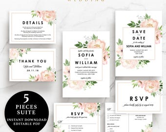 Flower Wedding Suite, Invitation, Save the Date, RSVP, Thank You Card, Details Card, Instant Download Printable, EWSU004