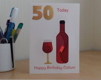 Personalised hand-made Special Celebration 50th Birthday Card