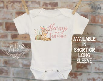 Always and Forever Mom and Baby Deer Onesie®, Bohemian Onesie, Cute Baby Bodysuit, Cute Onesie, Boho Baby Onesie, Girl Onesie - 169A