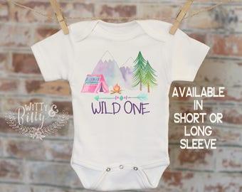 First Birthday Camping Onesie®, 1st Birthday Onesie, Wild One Onesie, Cute Onesie, Boho Baby Onesie, Woodland Style Onesie - 235W