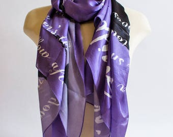 Purple Silk Scarf with Poem for Mothers (GREAT GIFT)