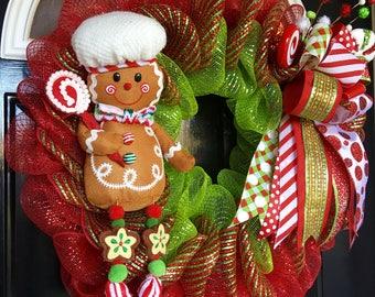 Whimsical Gingerbread Man Deco Mesh Christmas Wreath