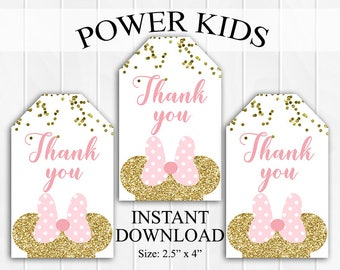 50% OFF SALE INSTANT Download Minnie Mouse Thank You Tags, Favor Tags, Party Favors, Printable Diy