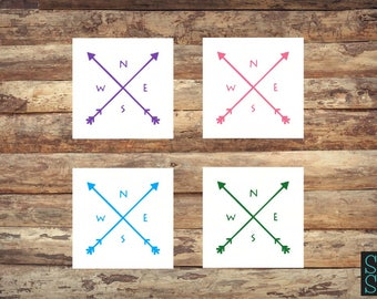Compass decal, arrows decal, nautical decal, navigator decal