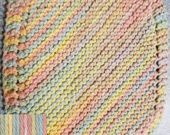Handmade Knitted Dishcloth - Free USA Shipping - Buttercream