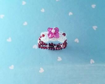 Pink Swarovski Floral Ring