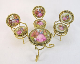 Vintage Miniature Limoges Tete a Tete set of three Chairs and one Table