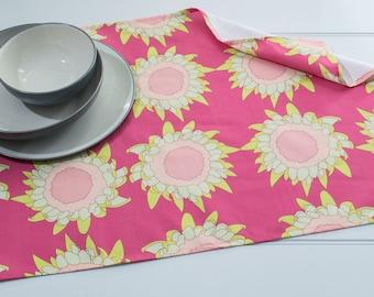 Tea Towel in Gaillardia Bud Magenta Pattern Made from 100% Cotton