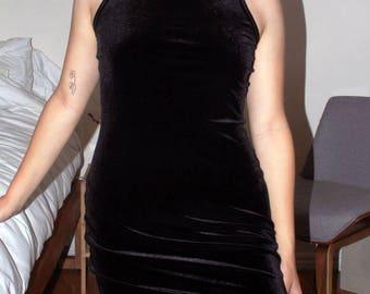 Velvet High Neck Mini Dress