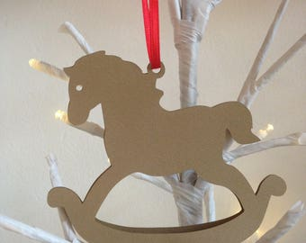 4 pcs-Christmas decoration to hang in paper, rocking horse