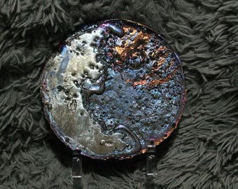 Details about  crescent moon with a starry sky, decorative bismuth plate