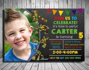 Teenage Mutant Ninja Turtles Birthday Invitation, Teenage Mutant Ninja Turtles Invitation, TMNT Invitation,Ninja Turtles Birthday Invitation
