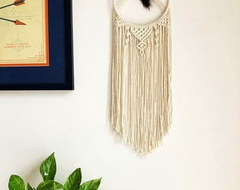 Macrame Wall Hanging Dreamcatcher with Brown Bead and Brown Feather, Medium Woven Wall Hanging, Boho Hippie Tapestry, Dream Catcher