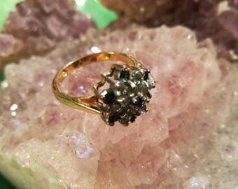 Ring, Vintage, gold, double, cocktail ring, sapphire, rhinestones, glass