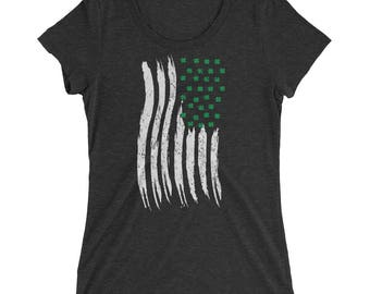 Ladies' St Patrick's Day Irish American Flag T-Shirt, US Flag with Shamrocks, Vertical American Flag, St Patty's Day Shirt for Women