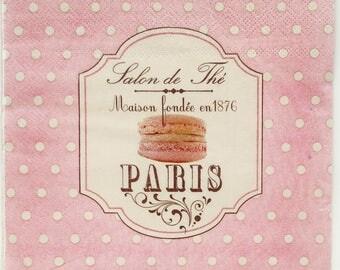 4 Decoupage Napkins, pink party, salon de the paris, macarons tissue napkins for scrapbooking, beige cake, pink cake, tissue paper S4