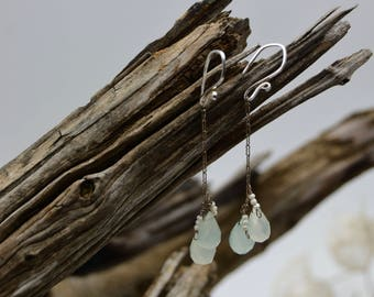 Aquamarine & Freshwater Pearl Sterling Drop Earrings