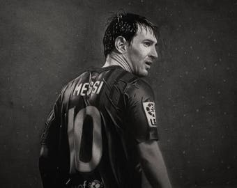 "pencil drawing of the football player ""messi"""
