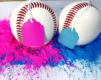 Two Gender Reveal Baseballs Blue and Pink Gender Reveal Party Baby Shower Party Gender Reveal Ideas Team Girl Team Boy