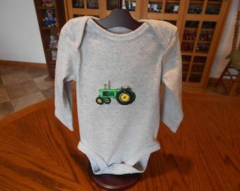 Baby Onesie, John Deere Tractor Onesie, Greene Tractor Onesie, Machine Embroidery