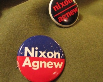 Set of 2 Vintage Political Campaign Buttons made by Green Duck Co in 1968 and 1972 for Nixon Agnew
