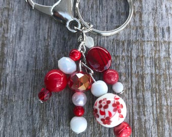 Keychains for Women, Floral Beaded Bag Charm, Purse Charm for Handbags, Bag Charm, Beaded Purse Charm, Beaded Keychain, Floral Keychain