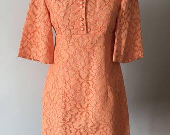60s apricot lace mini dress