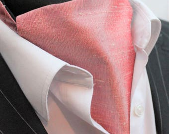 Cravat Ascot. 100% Silk Front. UK Made.Pink Dupion Silk + matching hanky.