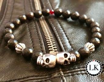 REBEL - Faceted Matte Onyx Skull Bracelet