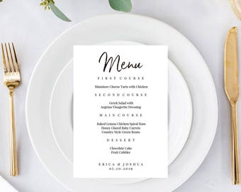 Wedding Menu Printable, Wedding Menu Cards, Menu Template, Printable Wedding, Dinner Menu, Diy Menu, Calligraphy Menu, Menu Download, Menus