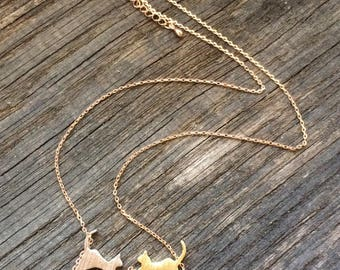 Necklace cat rhodium and gold plated chain in rose gold
