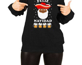Funny Holiday Sweater Christmas Gift Ideas For Her Merry Xmas Pullover Holiday Jumper Beer Sweater Feliz Navidad Slouchy Sweatshirt TEP-411