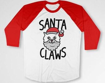 Funny Christmas Raglan Cat T Shirt Baseball Sport Tee Xmas Gift Ideas Holiday Present Kitty Clothing Christmas Raglan Sleeves TEP-523